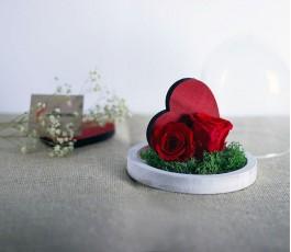 Cúpula 2 Rosas Eternas Corazón
