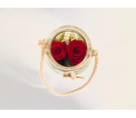 2 Rosas Rojas en Cristal